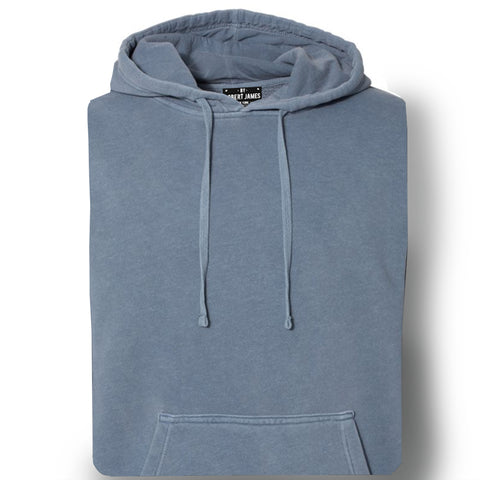 THE CLIFFORD PIGMENT DYED PULL OVER HOODIE - WASHED INDIGO Men's Knit T-Shirt By Robert James