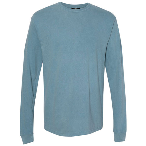 THE BUCK LONG SLEEVE PIGMENT DYED TEE - HORIZON BLUE  Men's Knit T-Shirt By Robert James