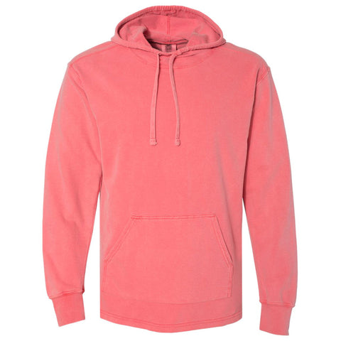 THE RHINO PIGMENT DYED HEAVY JERSEY PULL OVER HOODIE - FLAMINGO  Men's Knit T-Shirt By Robert James