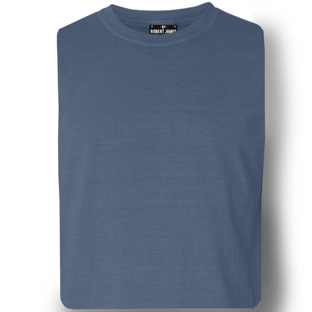 THE RULLOW PIGMENT DYED TEE - WASHED DENIM  Men's Knit T-Shirt By Robert James