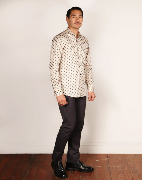 LIMITED EDITION // JAMES JEFFREY FA18 // OYSTER/CHARCOAL POLKA DOT Men's Dress Shirts By Robert James