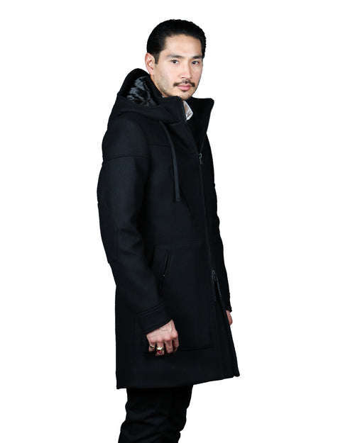 X11- 18A DUFFLE COAT // BLACK WOOL