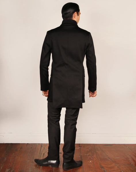 LIMITED EDITION // YORK // BLACK COTTON TWILL Men's Coat By Robert James