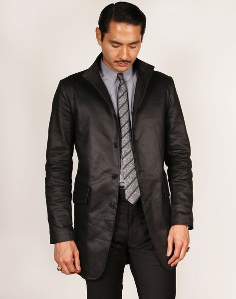 LIMITED EDITION // YORK // BLACK COATED COTTON TWILL Men's Coat By Robert James