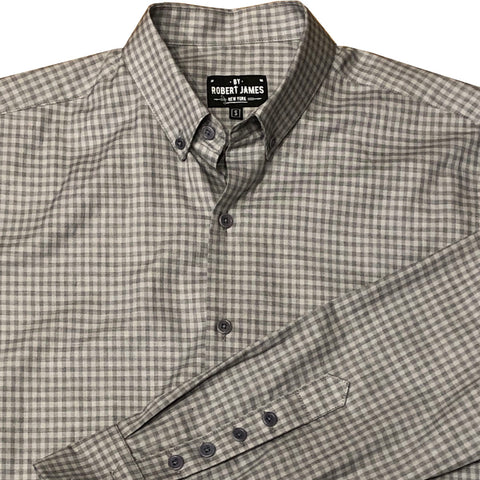 BOND - BUTTON DOWN GREY / CHAR GINGHAM SHIRT