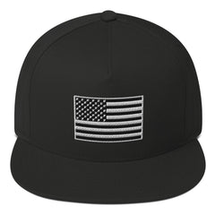 BLACK WHITE PEACE FLAG / EMBROIDERYFlat Bill Cap