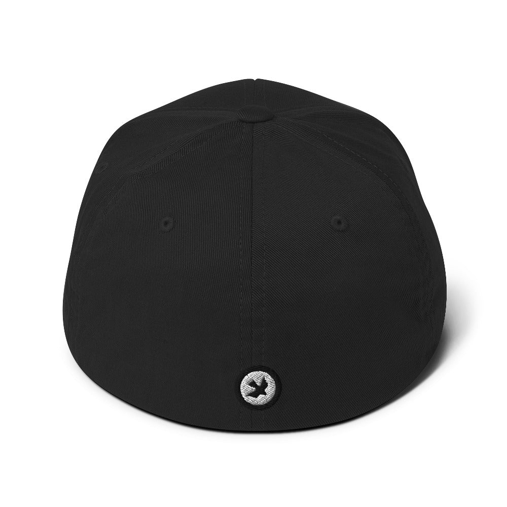 PEACE OUT BLACK // Fitted Twill Cap