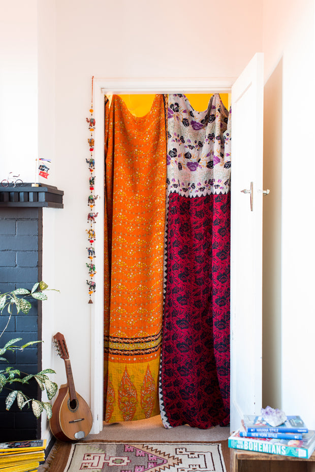 Valentine Don Contribute Ideas For 4 Different Boho Entryways Our Favorite Of Course Are The Kantha Quilt Styled Curtains