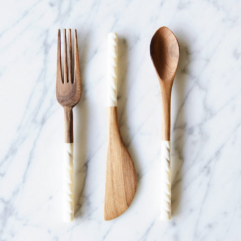 Wild Olive Wood Appetizer Serving Set
