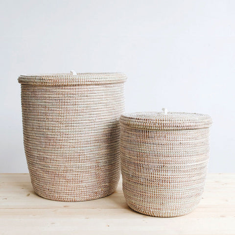 woven basket with lid. Flat Lid Woven Storage Hamper Set - White Basket With M