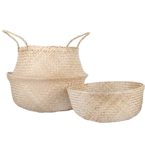 Woven Collapsible Rice Belly Basket - Natural