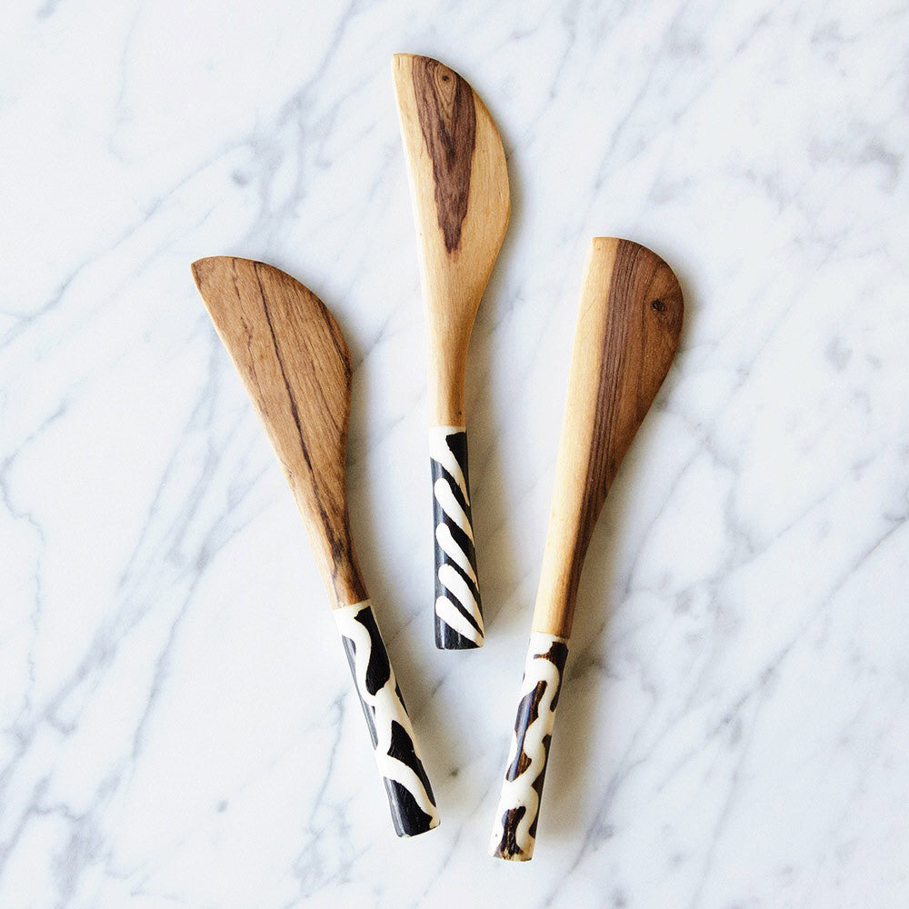 Wild Olive Wood Cheese Spreader Knife