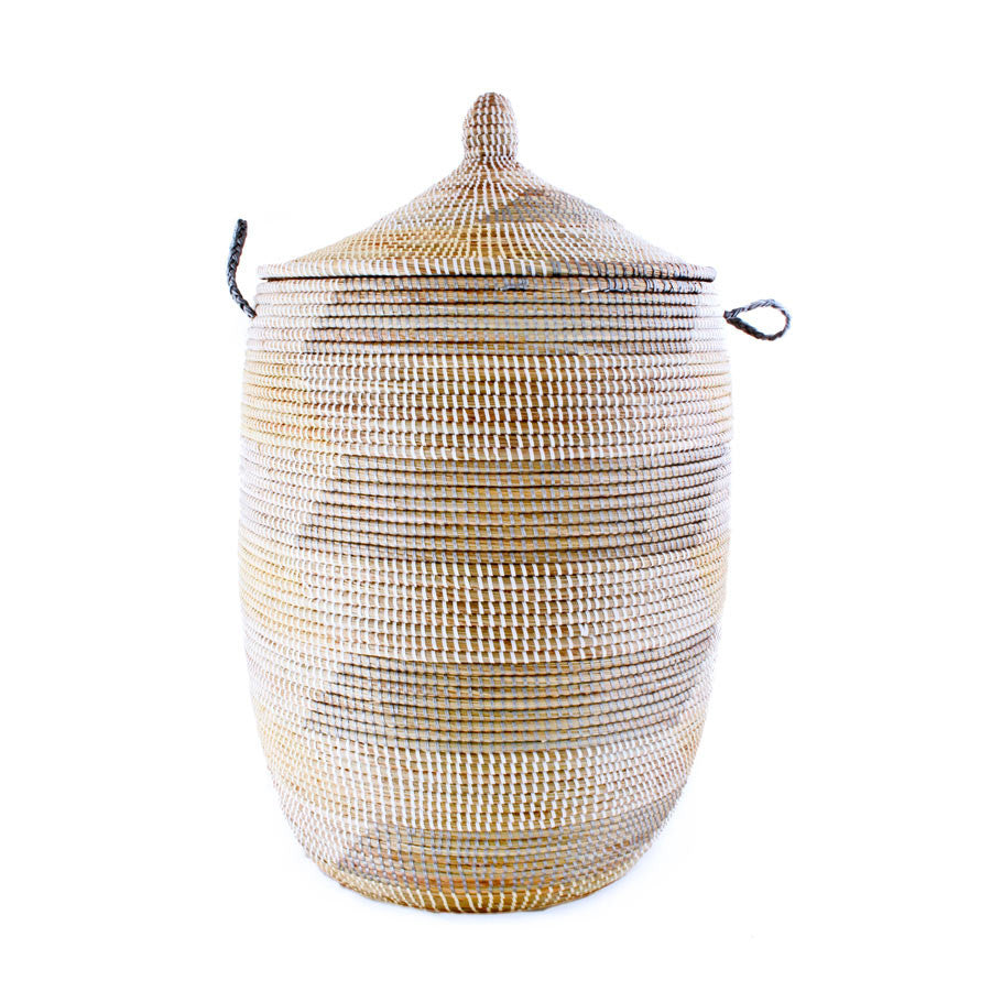 Woven African Laundry Clothes Hamper - Grey & Cream - Large