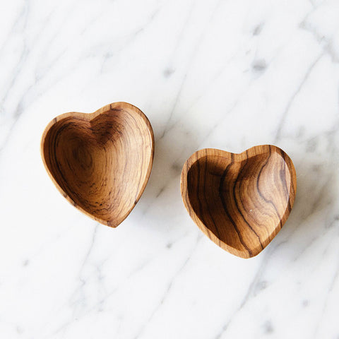 Wild Olive Wood Mini Heart Dish Set
