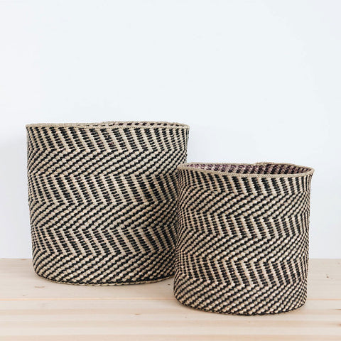 Woven African Iringa Storage Basket - Black