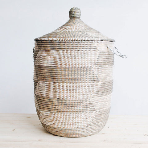 woven african laundry clothes hamper silver herringbone large