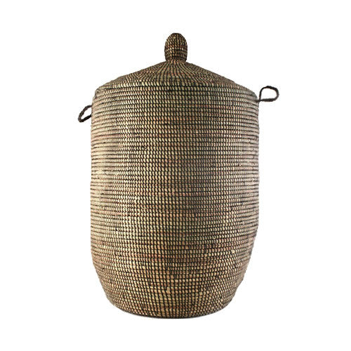 Woven African Laundry Clothes Hamper - Black - Large