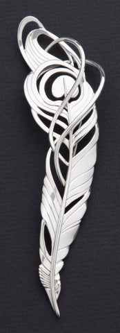 Sterling silver Peacock Feather brooch