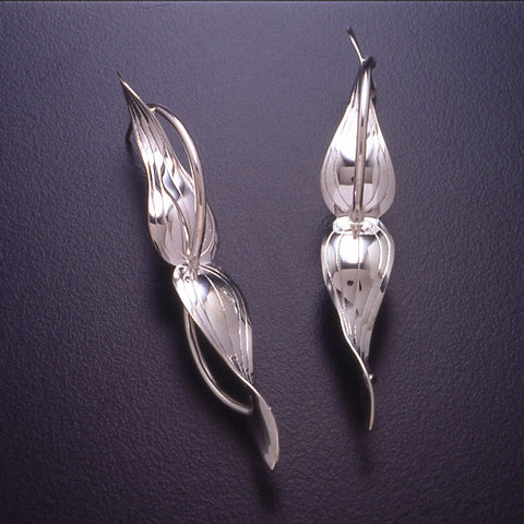 Sterling silver Clematis Leaf earrings