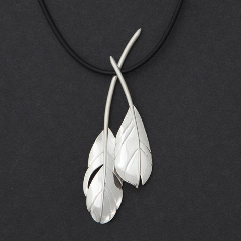 Sterling silver Cock (Rooster) Feather pendant necklace