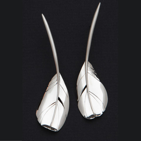 Sterling silver Cock (Rooster) Feather earrings