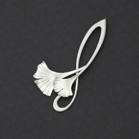 Sterling silver Double Ginkgo brooch