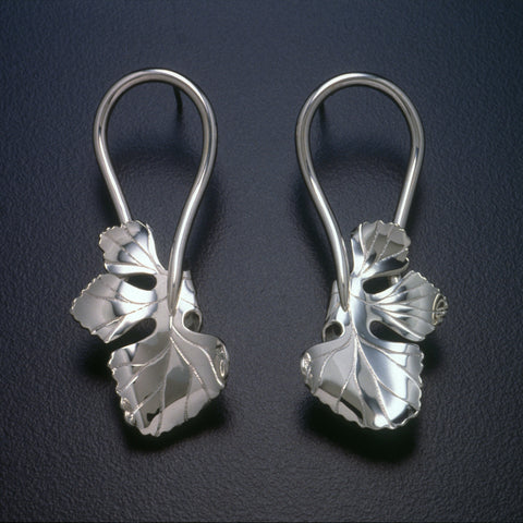 Sterling silver Fig Leaf earrings