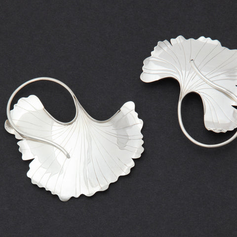 Sterling silver Ginkgo Leaf brooch