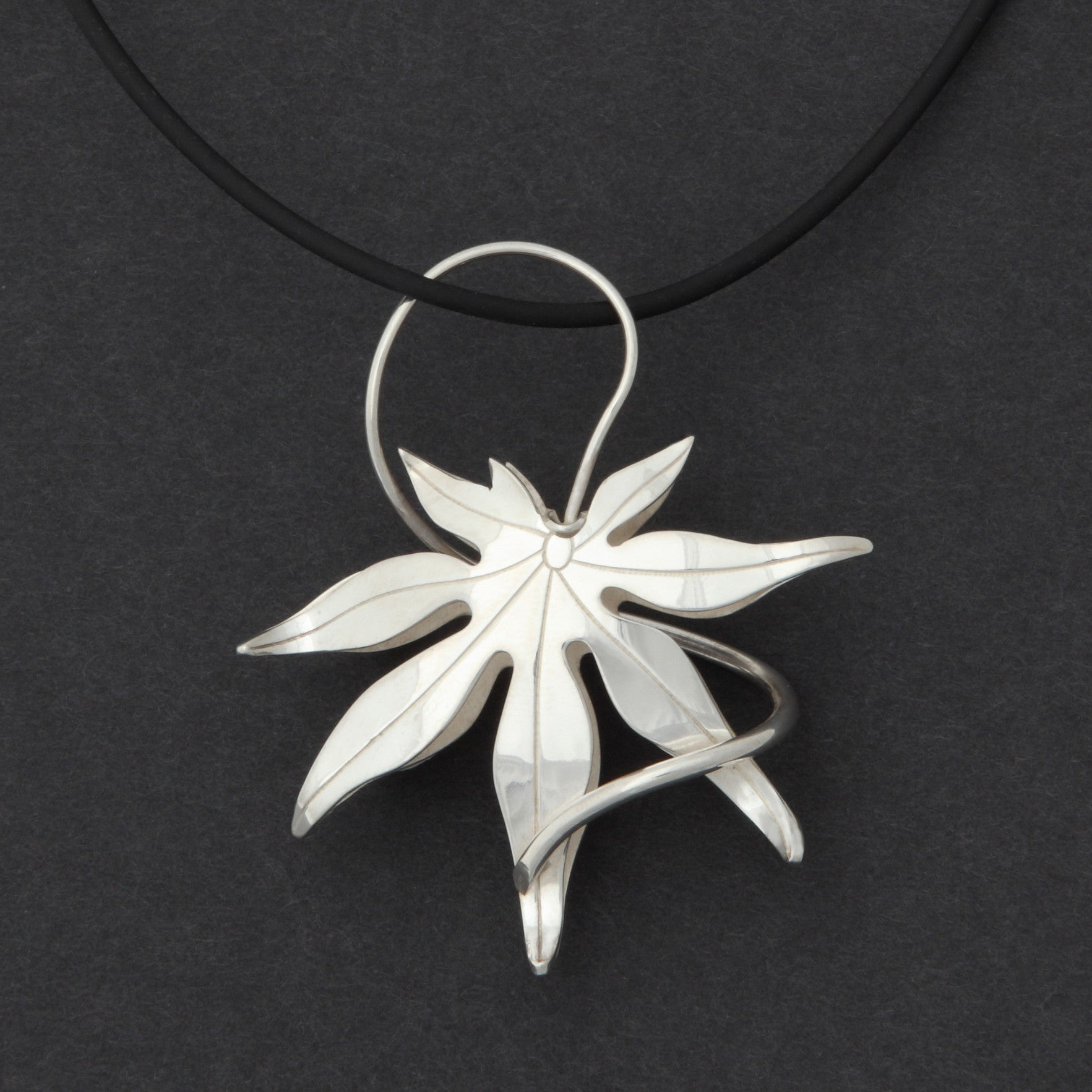electroformed leaf medium necklace silver real small products maple pendant fallen