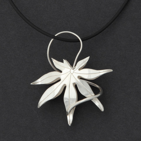 Sterling silver Japanese Maple pendant necklace
