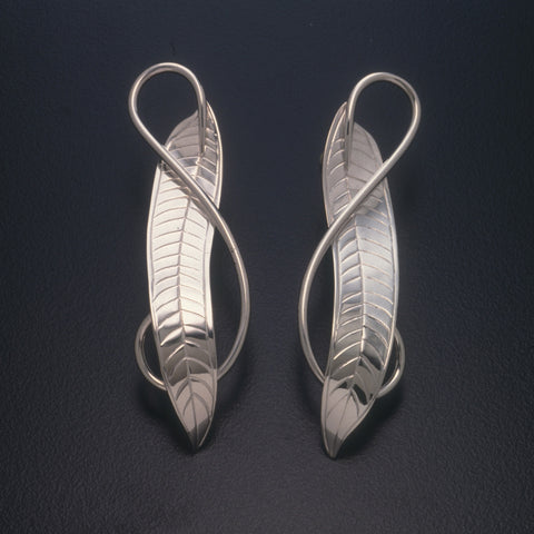 Sterling silver Oleander Leaf earrings