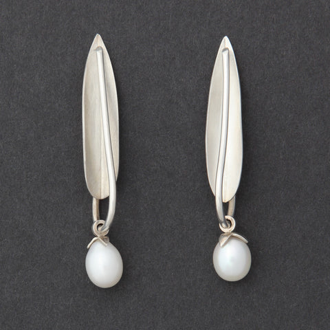 Sterling silver Olive Leaf earrings with pearl