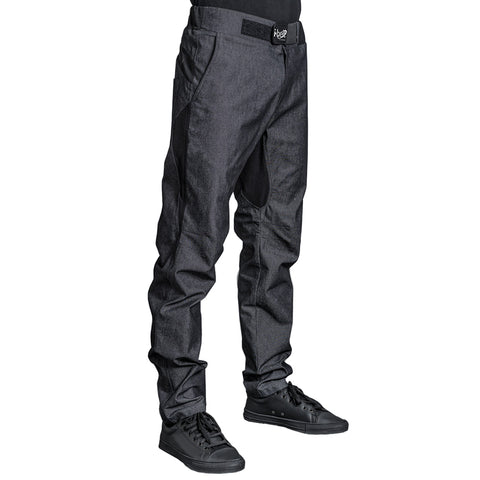 FURYO black denim chef pants with adjustable belt and jersey material for breathability