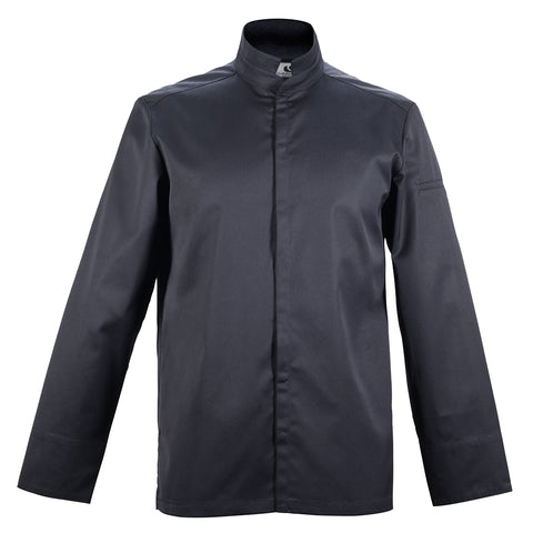 ADDICT center snap men's black chef jacket long sleeve Clement Design