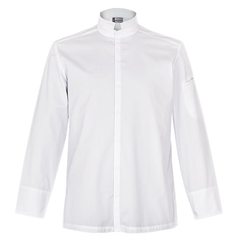 ADDICT center snap men's white chef jacket long sleeve Clement Design