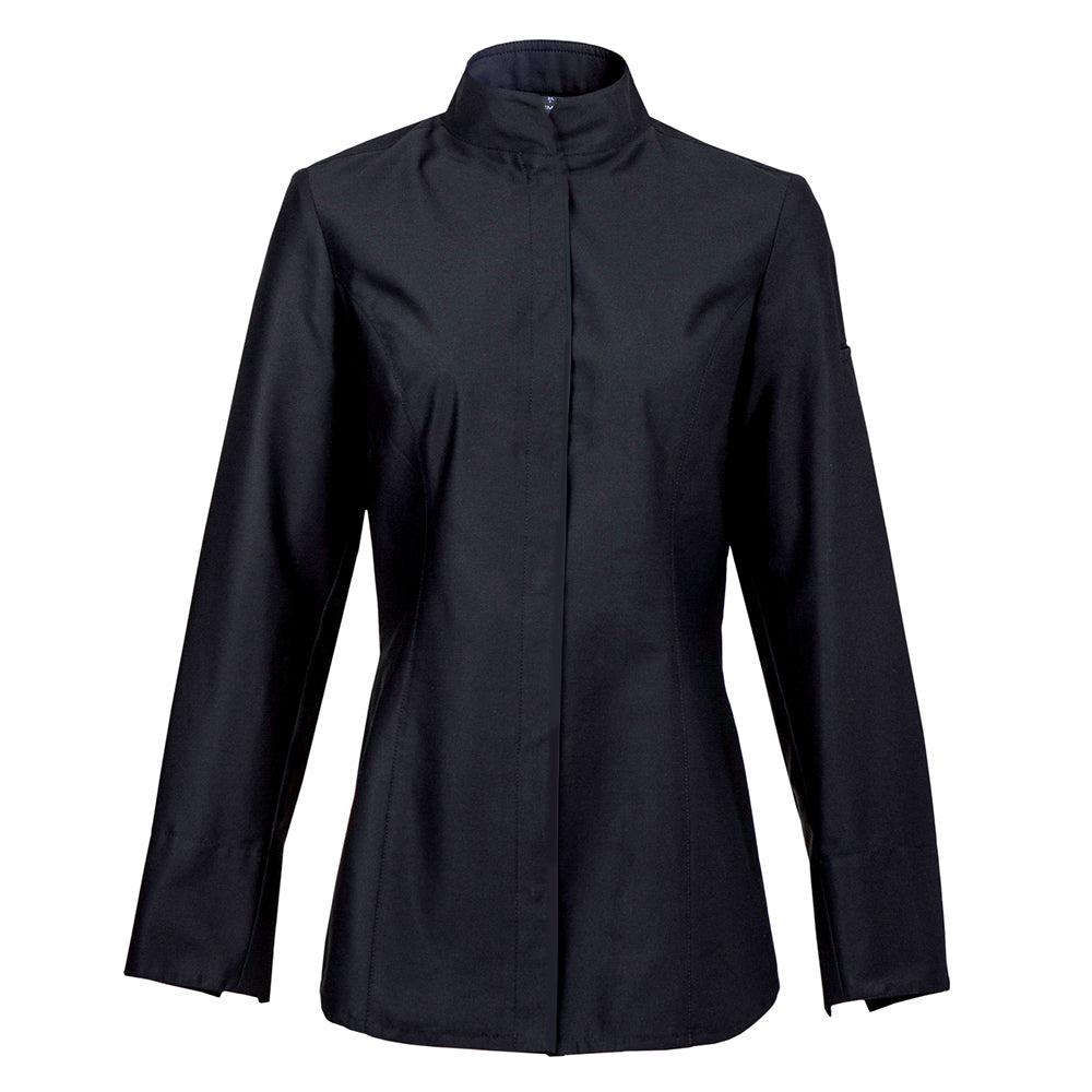 ALBA women's long sleeve center snap fitted chef jacket in black by Clement Design