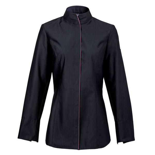 ALBA women's long sleeve center snap fitted chef jacket in black with CYOU by Clement Design