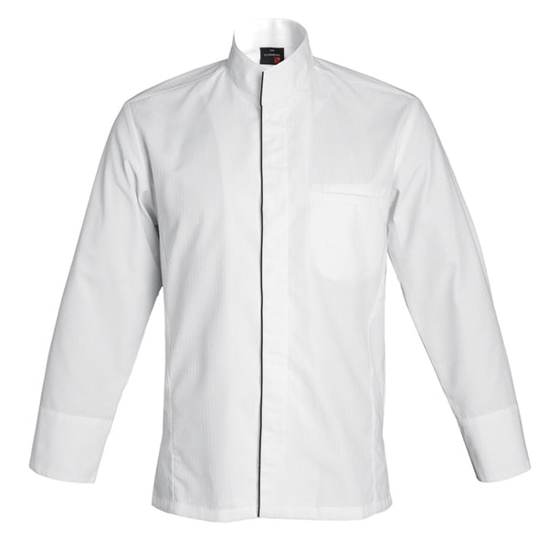 ALICANTE premium men's center snap chef jacket with cyou, white long sleeve by clement design