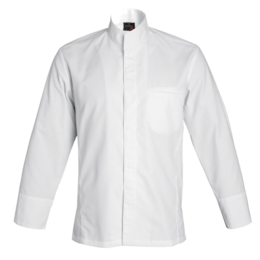 ALICANTE premium men's center snap chef jacket, white long sleeve by clement design