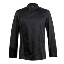 C-ONE long sleeve executive black chef jacket with hidden snap buttons