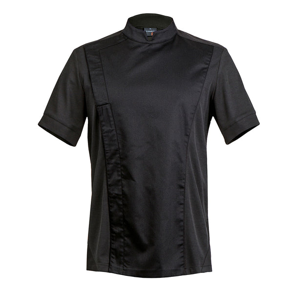 C-ONE short sleeve executive black chef jacket with hidden snap buttons