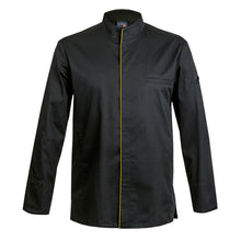 CATANE chef jacket with CYOU customization: long sleeve, black, center snap buttons