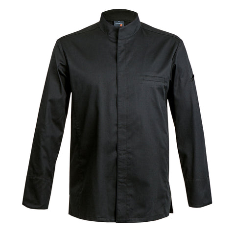 CATANE chef jacket, long sleeve, black, center snap buttons