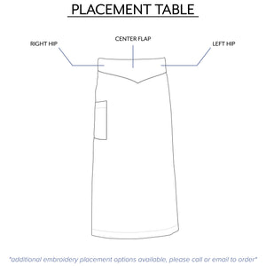 font embroidery placement options for waist aprons