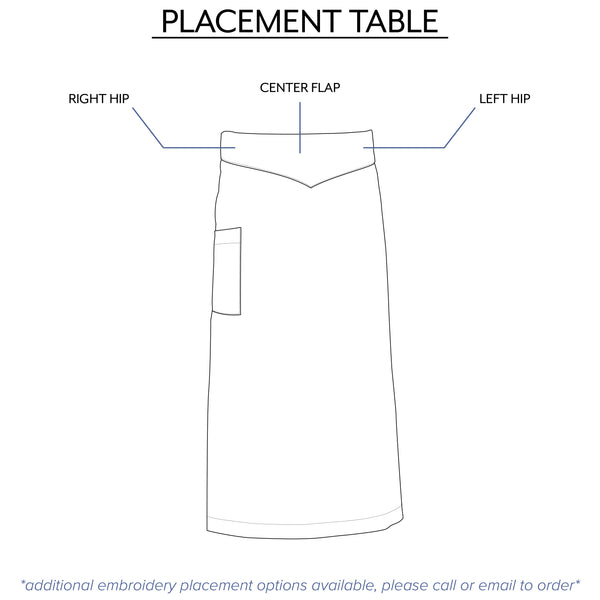 waist apron embroidery options from Clement Design