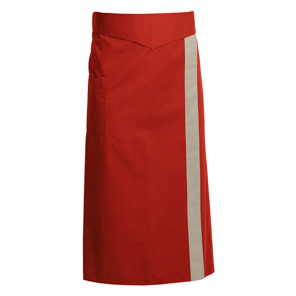CORIANDRE red colored French tie waist apron with CYOU customization