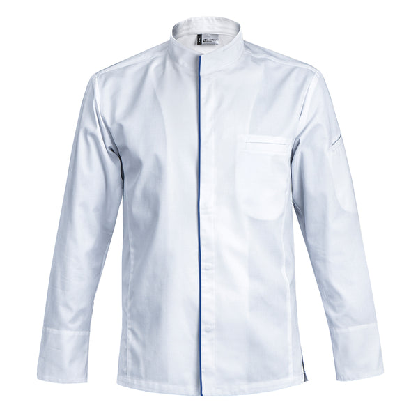 EVOQUE men's center snap front pocket chef jacket worn by professional chefs with CYOU customization