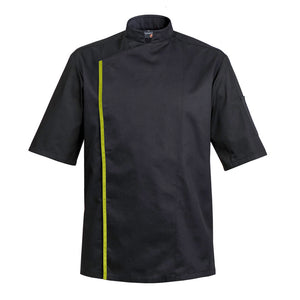 FIRENZE affordable high quality men's chef jacket, black short sleeve with CYOU customization