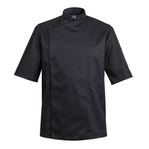 FIRENZE affordable high quality men's chef jacket, black short sleeve