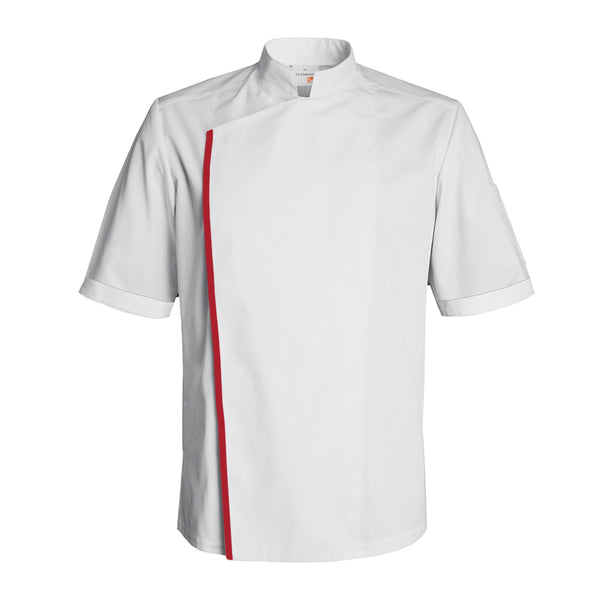 FIRENZE affordable high quality men's chef jacket, white short sleeve with CYOU customization